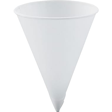 SOLO® Treated Paper Cone Cup, White, 4 1/4 oz
