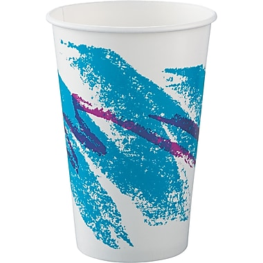 SOLO® Double Sided Poly Paper Cup, White/Green/Purple, 16 oz