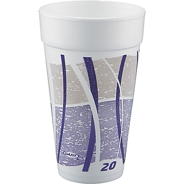 Impulse® Hot/Cold Foam Drinking Cup, White/Purple/Gray, 20 oz