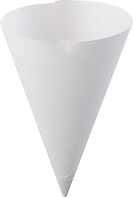 Konie Straight-Edge Paper Cone Cups, 7oz, White, 250/Bag, 5000/Carton KCI70KSE