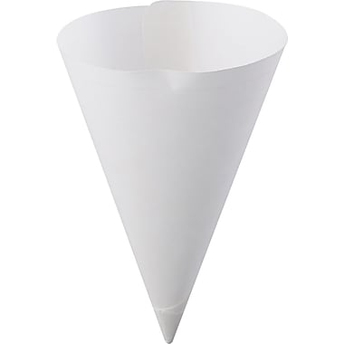 Konie® Straight-edge Paper Cone Cup, White, 7 oz