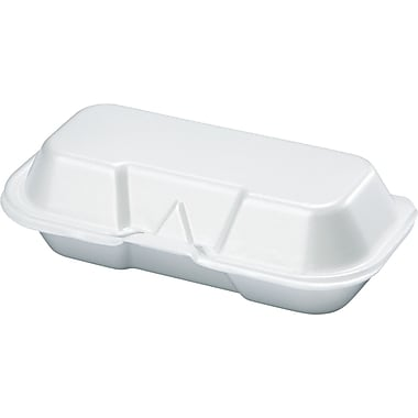 Genpak® Hot Dog Hinged Container, 2 1/4in. H x 3 9/16in. W x 7 3/8in. D