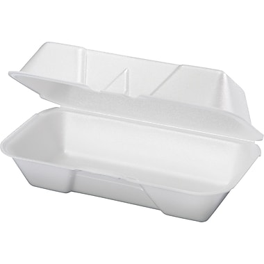 Genpak® Hogie Hinged Container, Medium, 3 1/16in. H x 4 3/16in. W x 8 7/16in. D