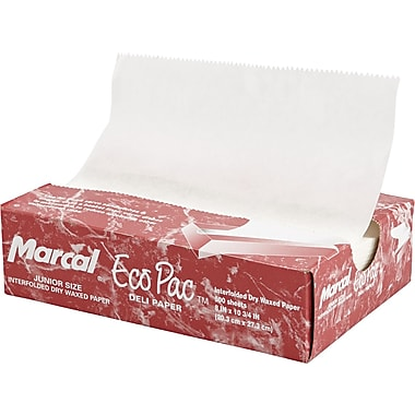 Marcal® 529 Eco-Pac Deli Dry Waxed Paper Sheet, White, 10 3/4in.(L) x 8in.(W)