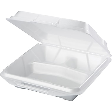 Genpak® 20310 Foam Hinged Dinner Container, White, 200/Case
