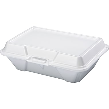 Genpak® All Purpose Hinged Container, Large, 3in. H x 6 1/2in. W x 9 1/5in. D