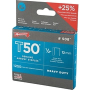 "Arrow Fastener T50™ Flat Crown Staples, 1/2"" x 3/8"", 1250/Pack (091-50824)"