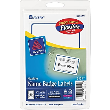 Avery® Flexible Name Badge Label, White, 2 1/3in. x 3 3/8in. Size