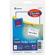 "Avery® Flexible Name Tag Label, White, 2 1/3"" x 3 3/8"" Size"