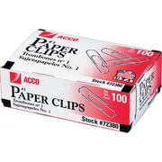 ACCO Brands Regular Economy Paper Clips, Silver, .033 Gauge, 100/Box, 10 Boxes/Pack