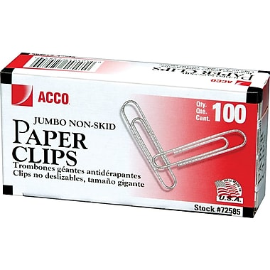 ACCO Economy Jumbo Paper Clips, Silver finish, 100/Bx