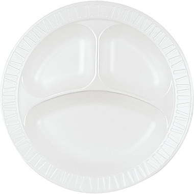 Dart® 10CPHQ Dinnerware Plate, 3 Compartments, Foam, 500/Case