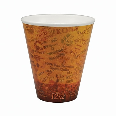 Dart 12U16ESC Foam Hot/Cold Cup, 12 oz. Brown/Black, 1000/Case 150090