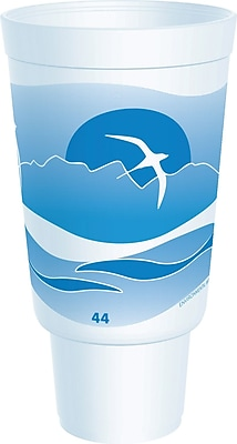 Dart 44AJ32H Horizon Foam Hot/Cold Cup, 44 oz. White/Ocean Blue, 300/Case 150103