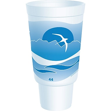 Dart® 44AJ32H Horizon Foam Hot/Cold Cup, 44 oz. White/Ocean Blue, 300/Case