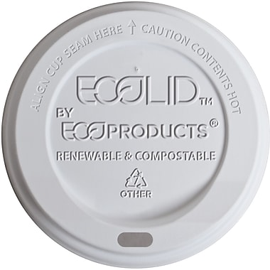 Eco-Products® ECOLID-W Hot Cup Lid, Translucent, 20 oz., 800/Carton