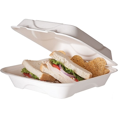 Eco-Products® HC9 9in.(H) x 9in.(W) x 3in.(D) White Hinged Lid Food Containers