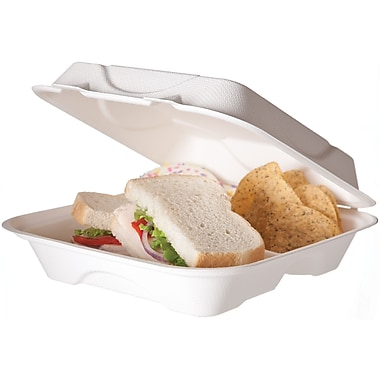 Eco-Products® HC9 Hinged Lid Food Container, White, 9in.(H) x 9in.(W) x 3in.(D), 3 Compartments