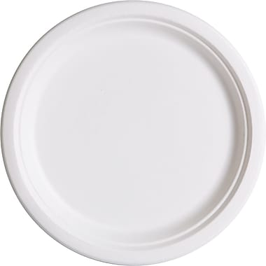 Eco-Product® P005 Dinnerware Plate, 10in.(Dia), Natural white, 500/Carton