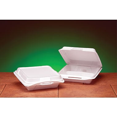 Genpak® 20310 Carryout Hinged Dinner Container, White, 3in.(H) x 9 1/4in.(W) x 9 1/4in.(D)