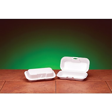 Genpak® 21100 Hot Dog Hinged Container, White, 2 1/4
