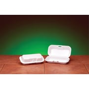 "Genpak® 21100 Hot Dog Hinged Container, White, 2 1/4""(H) x 3.56""(W) x 7.38""(D)"
