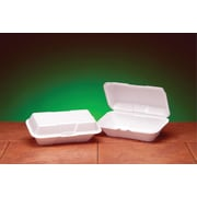 "Genpak® 21900 Large Hoagie Hinged Container, White, 3 1/2""(H) x 5 1/4""(W) x 9 1/2""(D)"