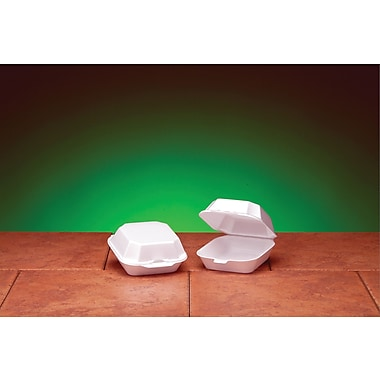 Genpak® 22400 Medium Sandwich Hinged Container, White, 2 3/4in.(H) x 5.19in.(W) x 5.13in.(D)