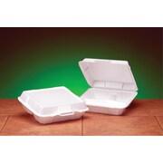 Genpak® 23300 Medium Hi-Volume Foam Hinged Dinner Container, White, 3(H) x 9 1/4(W) x 8.88(D)