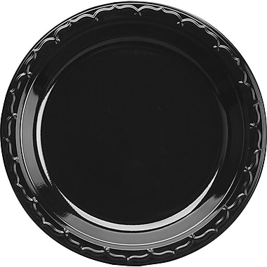 Genpak® Plastic Plate, Black, 9in.(Dia), 400/Case