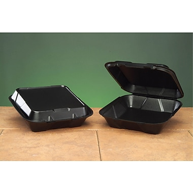 Genpak® SN200-3L Large Snap-It Hinged Dinner Container, Black, 3in.(H) x 9 1/4in.(W) x 9 1/4in.(D)