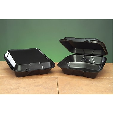 Genpak® SN203 Large Snap-It Hinged Dinner Container, Black, 3