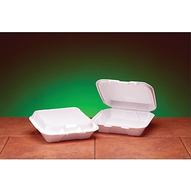 Genpak® SN220 Small Snap-It Hinged Dinner Container, White, 2.38
