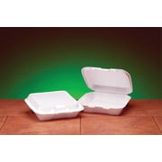 """Genpak® SN220 Small Snap-It Hinged Dinner Container, White, 2.38""""(H) x 7.63""""(W) x 8.44""""(D)"""