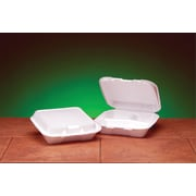 "Genpak® SN223 Small Snap-It Hinged Dinner Container, White, 2.38""(H) x 7.63""(W) x 8.44""(D)"