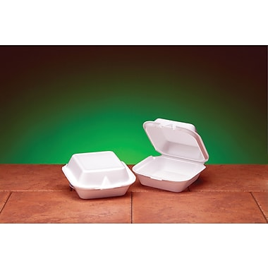 Genpak® SN227 Jumbo Snap-It Hinged Sandwich Container, White, 2.94