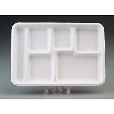 Chinet® VALISE Cafeteria Tray, White, 12 1/2in.(W) x 8 1/2in.(D)