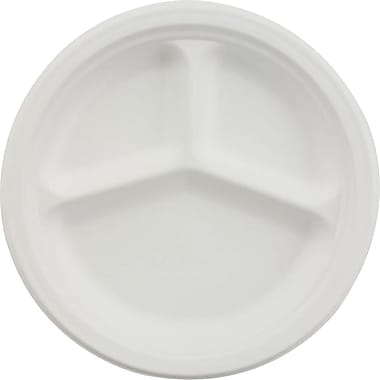 Chinet® VISTA Dinnerware Plate, 3 Compartments, 9 1/4in.(Dia), White, 500/Carton