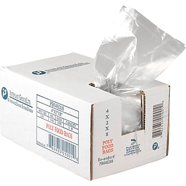 Inteplast Group PB100824 Food and Utility Poly Bag, 24in.(H) x 10in.(W) x 8in.(D), Clear