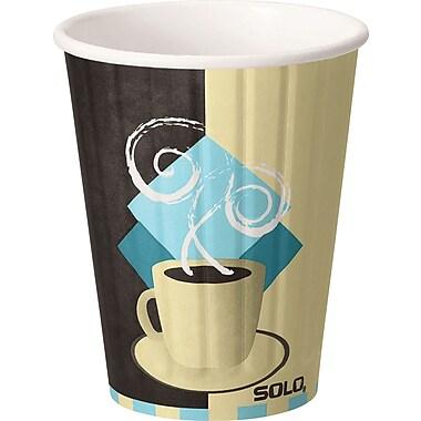 SOLO® Duo Shield® IC12-J7534 Hot Cup, 12 oz. White/Chocolate/Light Blue, 600/Carton