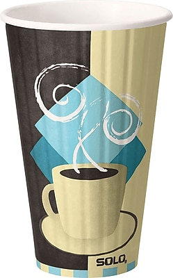 SOLO Duo Shield IC16-J7534 Hot Cup, 16 oz. Chocolate, Light Blue, Tan, 525/Carton 150312