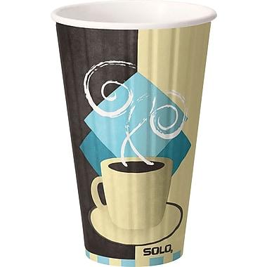 SOLO® Duo Shield® IC16-J7534 Hot Cup, 16 oz. Chocolate, Light Blue, Tan, 525/Carton