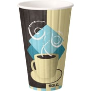 SOLO® Duo Shield® IC16-J7534 Hot Cup, 16 oz. Chocolate, Light Blue, Tan, 525/Carton