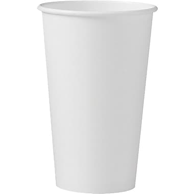 SOLO® 316W Single Poly Paper Hot Cup, 16 oz. White, 1000/Carton