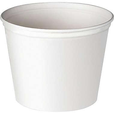 SOLO® 3T1U Unwaxed Double Wrapped Paper Bucket, White, 4.8