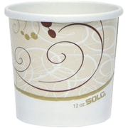 """SOLO® H4165SYM Double Sided Poly Paper Food Container, 3.9""""(H) x 3.9""""(Dia) Top x 2.9""""(Dia) Bottom"""