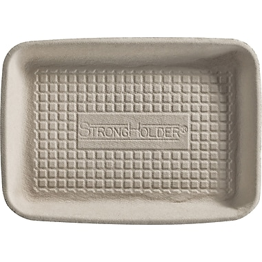 Chinet® FADER Food Tray, Beige, 5/8in.(H) x 8in.(W) x 5in.(D)