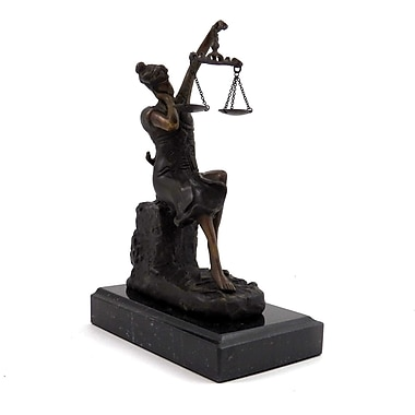 Bey-Berk Bronze Sleeping  Lady Justice Sculpture, Marble Base