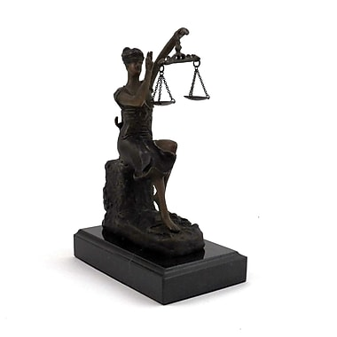 Bey-Berk Bronze Victorious  Lady Justice Sculpture, Marble Base