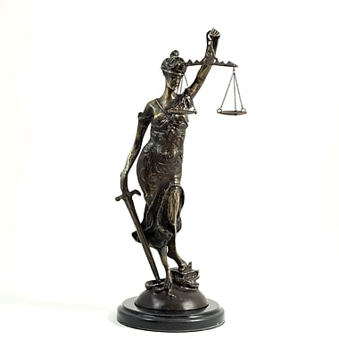 Bey-Berk Bronze Lady  Justice Sculpture, Marble Base